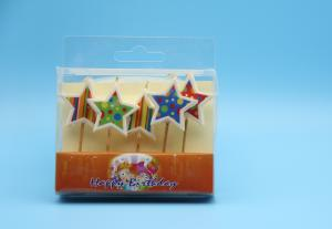 China Colorful  Painting Star Shaped Birthday CandlesLong Burning Paraffin Material on sale