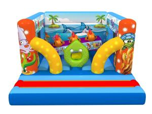 China Ocean Themed Kids Inflatable Bounce House Sea World Painting With Interesting Obstacles Inside on sale