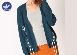 China Loose Effect Winter Knit Cardigan Sweaters For Women , Hit Color Cross Embroidery on sale