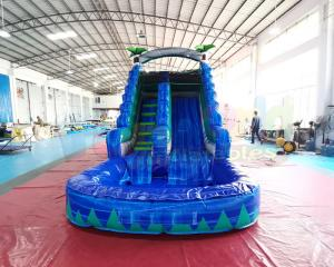 China Giant Palm Tree Bounce House Inflatable Water Slide With Big Pool on sale