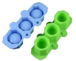 China Silicone planters mold, concrete flower pot molds with 3 joined hole in blue or green color on sale