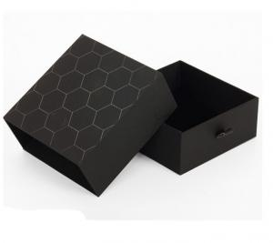 Quality Luxury Black Rigid Paper Display Box , Printed Cardboard Gift Boxes With Lids for sale