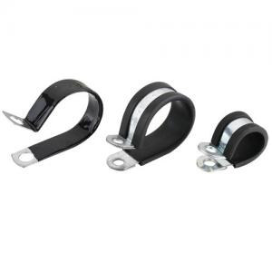 China Automotive P Type Stainless Steel Rubber Lined Pipe Clamps 25MM Band Width on sale