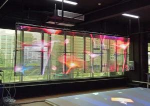 China 1800 Nits Brightness Led Transparent Screen P3.9 85% Light Go Through Vivid Color supplier