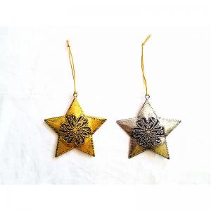 China Wholesale Star Shape Metal Christmas Decorations Hanging Ornaments on sale