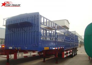 China 60T Roof Opened Steel Dry Van Trailer , Dry Box Trailer With Tri Axles on sale