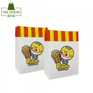 China Directly factory  lovely cartoon  water proof disposal white kraft paper side gusset  for pop corn package on sale