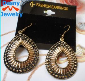 China Newest big large American indian golden teardrop dangle drop earrings on sale