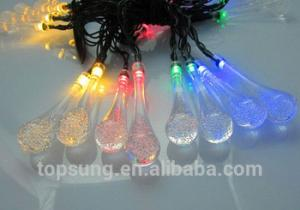 China flash led lights 5m 20leds solar water drop chiritsmas lights on sale