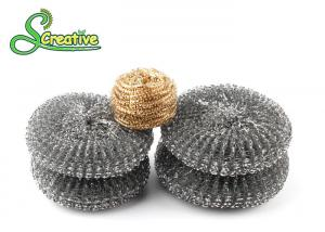 China Recyclable Hot Dip Galvanized Steel Wire Scourer For BBQ Grill Cleaning Round Shape on sale