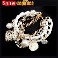 Twisted Fuax Leather Metal Heart Pearl Crystal Diamond Multi-layer Tassel Bangle Bracelets