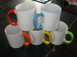 China Ceramic Mug, Color Handle Mug on sale