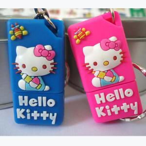 China 8GB Hello Kitty Cartoon USB Flash Drives, Cat Soft PVC USB Stick on sale
