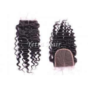 China Grade 7A Deep Wave Human Hair Lace Closure / Middle Parting Closure Real Hair on sale