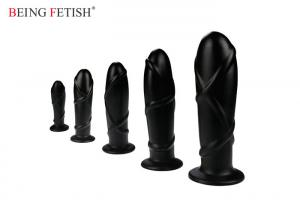 China Black Large 7  Inches PVC Anal Sex Toys Textured Sex Toys Waterproof CE ROHS Approve on sale