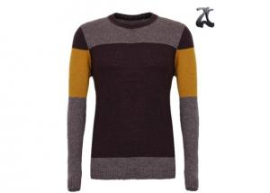 China Crew Neck Men's Knit Pullover Sweater Striped Jumper Long Sleeve For Spring Autumn on sale
