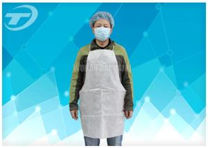 China Disposable White Plastic Aprons PE Coated SPP Fabirc 70 X 120cm on sale