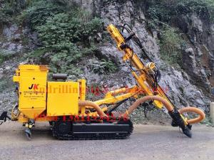 China Crawler DTH rock drilling rig machine with hydraulic dry dust collector on sale