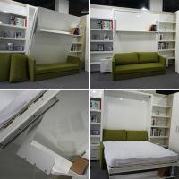 China White Modern Folding Wall Bed Vertical Solid With Sofa , E1 Grade MDF on sale