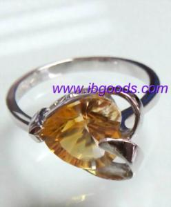 China 925 Sterling Silver Citrine Gemstone Ring on sale