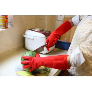 China Reusable Long Thick Latex Gloves cotton cloth warm latex household glove on sale