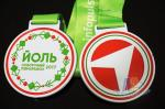Poland Medale Die Casting Soft Enamel award medallions White Plating With Sublimate Ribbon