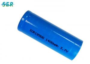 China Flat Top Li Ion Battery Cell , 3.7V Lithium Ion Rechargeable Battery 1400mAh 18500 on sale