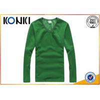Popular Blank Custom T Shirt , Long Sleeve V Neck T Shirts Mens