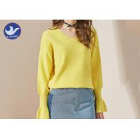 Candy Color Trumpet Cuff Womens Knit Pullover Sweater / Ladies V Neck Jumper