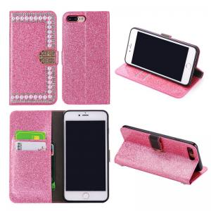 China High Quality Pearl Design Diamond Stand Bling Crystal Leather Wallet Phone Case For iPhone 8/7 on sale