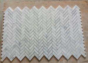 China C Carrara Natural Marble Mosaic Tile Bathroom Decor With Herringbone Shape on sale