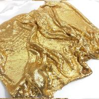 fashion gold metal mesh fabric Metallic cloth Sequin use for apparel table runner curtains shoes bags home decoration