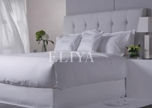 China Egyptian Cotton 600TC Hotel Bed Linens / White Solid Hotel Sheet Set Queen Size on sale
