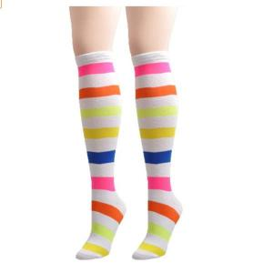 China Colorful custom striped design knee high women cotton socks on sale