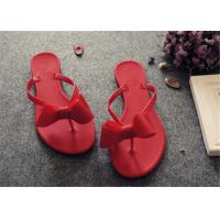 Plastic Upper Fashion Flip Flops With Bowknot Flat Heel Ladies Thong Slippers