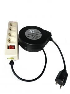 Retractable Power Cord >> Spring Loaded Self Retracting Extension Power Cord Reel