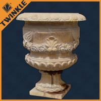 Supface polished carved yellow stone flower pots marble planter for indoor