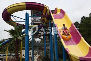 China 304 Stainless Steel Fiberglass Water Slides / Water Park Slides 13m Platform Height / Customized Water Park Equipment on sale