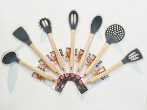 China Silicone Kitchen Utensil Set Spaghetti Server Soup Ladle Slotted Spoon Slotted Turner skimmer turner spoon on sale