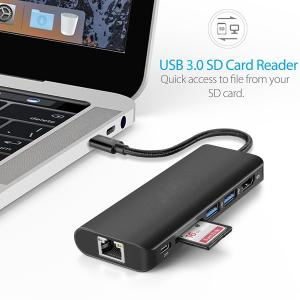 China USB Type C Hub,3.1 Multiport Adapter Hub with Type C Charging Port,HDMI Output,3.0Card Reader,2 USB 3.0 Ports,Ethernet on sale