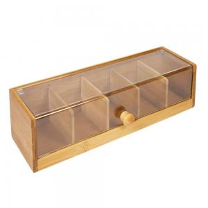 China 5 Compartment Pretty Bamboo Wooden Tea Bag Caddy Box Organizer and Storage with Acrylic Lid on sale