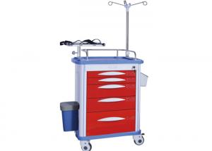 China ABS Medical Trolley Red Color Emergency Cart 5 Drawers Hospital Crash Cart  (ALS-ET003) on sale