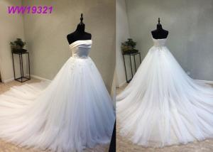 China Stunning Organza Strapless Ball Gown Wedding Dresses , Long Train White Lace Ball Gown on sale