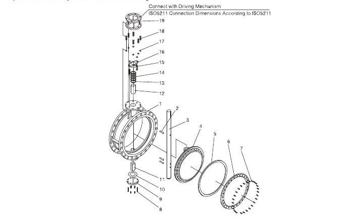 Triple Offset Butterfly Valve Drawing