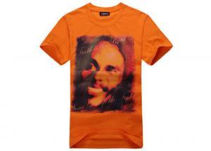 China Orange Cotton Printed T - Shirts Short Sleeve Side - Seamed Sublimation Logo on sale