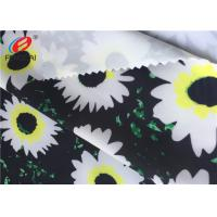 Flower Printed Stretch Polyester Spandex Fabric For Derss , 50D + 40D Yarn Count