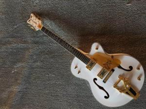 China Custom Inlay Design White Gretsc Falcon 6120 Semi Hollow Jazz Electric Guitar (GT-10) on sale