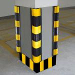 Black & Yellow Rubber & Steel Retainer Hospital Wall Corner Guard