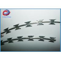 Hot Dipped Galvanized Razor Barbed Wire Coils For Military / Prisons / Banks