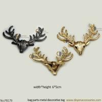 Fashion accessories decoration handbag gun plated handbag charm deer metal decorative tag with pin